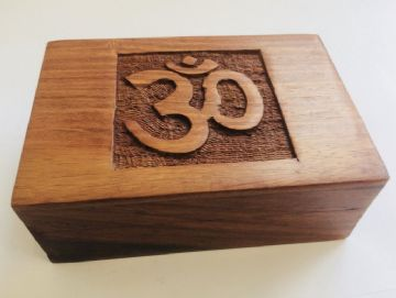 "CARVED 6x4"" OM Jewellery Trinket Box"
